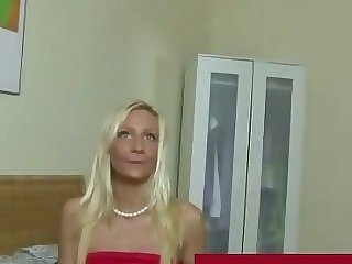 Sexy blonde putting on..